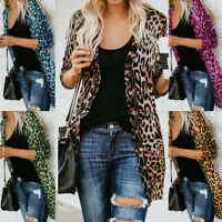 Womens Long Sleeve Leopard Print Cotton Cardigan Jacket Top Casual Coat Outwear