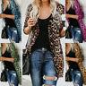 Womens Long Sleeve Leopard Print Cotton Cardigan Jacket Casual Coat Outwear UK