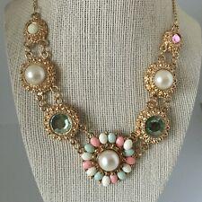 "Statement Bib Necklace Resin Beads Jewelry Green Pink 15-17"" NEW Gift Box"