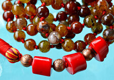 Natural Agate Dragon Vein Bamboo Red Coral 8mm 108 Hand Knotted Mala Beads Neckl