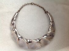 VINTAGE FREDERIC DUCLOS ON WAX STERLING SILVER MODERNIST NECKLACE CHOKER