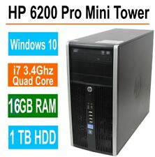 HP 6200 Pro Desktop Computer, 16GB Memory, 1TB, Intel i7 Quad Core 3.4GHz,Win 10