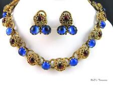 Vintage QUALITY Blue & Red Glass CABOCHON Necklace & Clip On Earrings SET