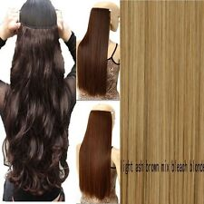 Real Thick AS Human Hair 1Piece Full Head Clip In Hair Extensions Straight Wavy