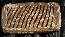 Vintage Faux Pearl White Beaded Purse Clutch Evening Bag Made In Japan Nice