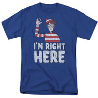 Where's Waldo Im Right Here T Shirt Mens Licensed Cartoon Merchandise Royal