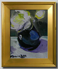 JOSE TRUJILLO - FRAMED OIL ON CANVAS EXPRESSIONIST IMPRESSIONISM WHITE FLOWERS