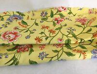 """Waverly Fabric 'Vat Colors' Remnant, """"Shoreham"""" Yellow Floral 47"""" x 30"""" Piece"""
