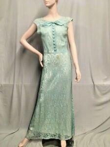 #21-087,. 1930's Aqua Lace Bias Cut Evening Dress