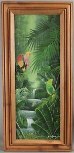 ALBOTT BONHOMME Tropical Jungle Parrot Birds Acrylic Haitian Painting NR