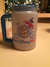 Disney World 25th Anniversary Travel Mug Cup Mickey Mouse Glitter 1996 Blue Top