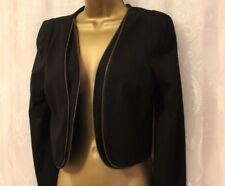 Aryn k Double Zip Crop Bolero Black Office Formal Occasion Cotton Jacket S 8 10