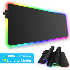 RGB Gaming Mouse Mat Pad Large Extended LED Mousepad For Desk PC Laptop Keyboard