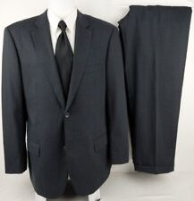 """EMANUEL UNGARO 44L Charcoal Wool 2 Button Suit Rear Vented Fully Lined 36"""" Pants"""