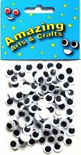 Ojos Wiggle pelotas Wiggly Craft Google 10mm Negro 100