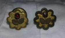 Cabochon Flowers Unique Cuff Links Tiny Antique Gold Victorian Men's Women's Red