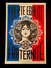 SIGNED Shepard Fairey LIBERTE EGALITE FRATERNITE Print OBEY Giant 24X36 Offset