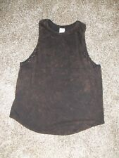 Womens EXIST Tank Top Large Black/Brown Distressed Acid Wash Faded NEW