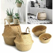 2Pcs Seagrass Flower Belly Basket Storage Holder Plant Pot Laundry Organizer Bag
