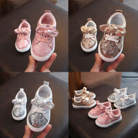 Sports Children BabyGirls Boys Bling Sequins Bowknot Crystal Run Sneakers Shoes