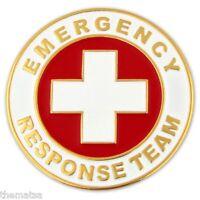 EMERGENCY RESPONSE TEAM  ROUND GOLD  RED MEDICAL BADGE PIN
