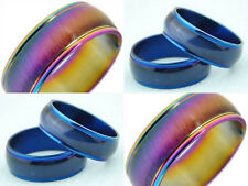 10pcs Rainbow blue cat eye style Stainless steel Rings  Jewelry lots