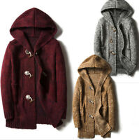 Mens Winter Long Hooded Cardigan Coat Knitted Sweater Thick Toggle Casual Jacket