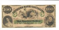 $100 C Note Louisiana New Orleans Citizens Bank 18XX unissued Plate C 3 maids