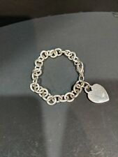 "7.5"" vintage Tiffany & Co. Heart Tag Charm Bracelet 925 Sterling Silver."