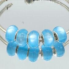 5pcs Silver Cat's Eye European Charm Beads Fit Necklace Bracelet DIY V242
