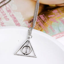 1PC Harry Potter -Deathly Hallows Metal Silver Necklace Pendant for Women Men