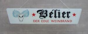 #5689 - 50er Jahre Belier Weinbrand Werbeschild - Glas