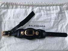 Balenciaga Black Arena Leather Giant Bracelet  goldtone brass buckle Size M