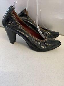 Sz 7 Sz 38 HISPANITAS Black Patent Leather Court Shoes Houndstooth Trim Mid Heel