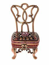 Princess Chair Jewelry Trinket Box 1521 bejewel Enamel Crystal Hinge Keepsake
