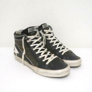 Golden Goose Slide High Top Sneakers Gray Suede & Black Leather Size 37