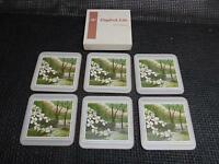 Old Vtg ENGLISH LIFE Flowering Dogwood Cork DRINK COASTERS Set 6 made England