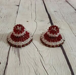 Vintage Beaded Safety Pin Candle Holders Christmas Red White Gold