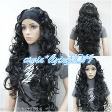Charm Ladies wig Long Black/Brown mix/blonde 3/4 with headband Wavy half wigs