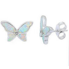White  Opal & Cz Butterfly.925 Sterling Silver Earrings