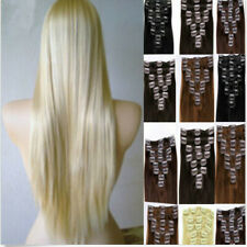 Fashion Straight Clip In Real Remy Human Hair Extensions Full Head For Womans
