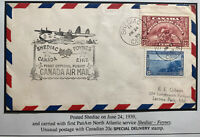 1939 Shediac Canada First Flight Airmail Cover To Usa Via Foynes Ireland