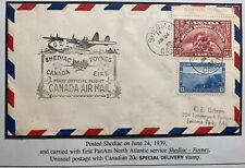 1939 Shediac Canada First Flight Airmail Cover To Usa Via Foynes Ireland