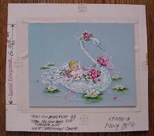 Dennison Original 1960's Artist Proof Acrylic Art Work Baby on a Swan Boat SWEET