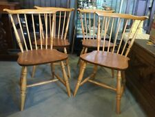 A Set of Four Rare Vintage Blonde Ercol Fan Back Dining Chairs model no. 714