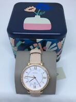 Fossil Jacqueline Glitz Crystals White Dial Pink Leather Women's Watch ES4303