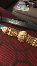 Women/'s Turquoise /& Gold Snakeskin Effect Skinny Belt with Gold Buckle