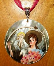 Russian Hand painted REPRO SHELL pendant MUCHA Sarah Bernhardt La Tosca signed
