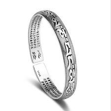 Thailand 925 Sterling Silver Tibetan Sanskrit Punk Gothic Open Bangles Bracelets