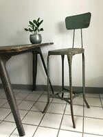 Vintage UHL Steel TOLEDO Shop Stool INDUSTRIAL Factory ANTIQUE Metal DRAFTING